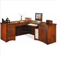 Kathy Ireland Home by Martin Furniture Mission Pasadena L-Shape Wood Desk