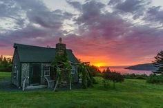 Sunset from the Inn at Whale Cove cottages - Grand Manan. New Brunswick, Whale Watching, East Coast, The Magicians, Travel Guides, Vintage Posters, Sunrise, Island, Explore