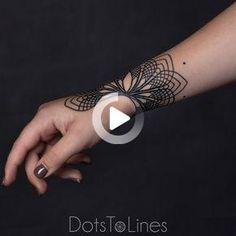 Mandala Wrist Tattoo #wristtattoos Mandala Wrist Tattoo, Butterfly Wrist Tattoo, Wrist Tattoos For Women, Tattoos For Women Small, Dots To Lines, Hand Tattoos, Hands, Elegant, Instagram Posts