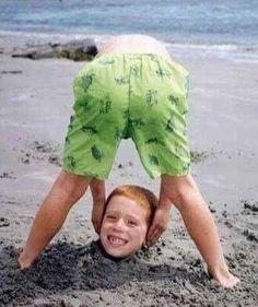 Idée de photo plein d'humour à faire à plage