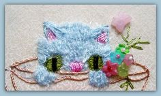 RosalieWakefield-Millefiori: Teacup of Kitten - Brazilian Dimensional Embroidery for the BDEIG Scholarship Quilt Project