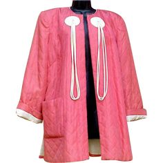 1940s Art Deco women's satin cocktail jacket or coat in coral and white size X Large.  So Hollywood fashion fabulous. Measurements in inches:  Chest