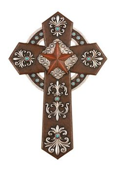 Western Cross with Star Wall Cross Gorgeous New Piece Cross Wall Decor, Crosses Decor, Wood Crosses, Western Decor, Western Crafts, Western Style, Cross Symbol, Old Rugged Cross, Mosaic Crosses