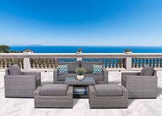 SunHaven Resin Wicker Outdoor Patio Furniture Set - 7 Piece Conversation Sectional Premium All Weather Gray Wicker Rattan, Aluminum Frame with Deluxe Fade Resistant Olefin Cushions Piece Cromwell) Aluminium Garden Furniture, Resin Wicker Patio Furniture, Patio Furniture Sets, Kids Furniture, Asian Furniture, Furniture Dolly, Furniture Logo, Street Furniture, Furniture Stores