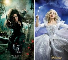 Helena Bonham Carter as Harry Potter's Bellatrix Lestrange (left) and as Cinderella's Fairy Godmother (right). She's amazinggggggg.