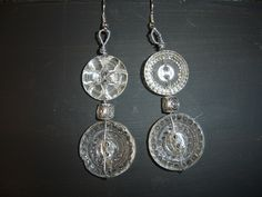 BUTTONS!!!  Two button earrings with vintage glass buttons! ..from Junque Drawer Studio!  :)