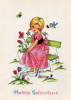 Vintage Postcard congratulations 60s Girl by CuteEyeCatchers, €3.50