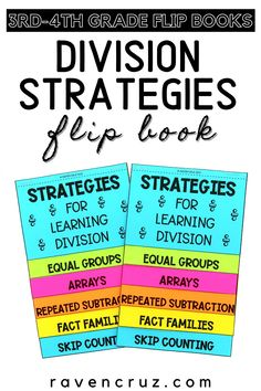 Are you looking for a fun division activity for your 3rd-grade and 4th-grade students? This division strategies flip book is an engaging and interactive activity that can be used for reference or in interactive notebooks. Division Strategies, Division Activities, Third Grade Math, Second Grade, Special Education Math, Teaching Multiplication, Common Core Math Standards, Flip Books, Fact Families