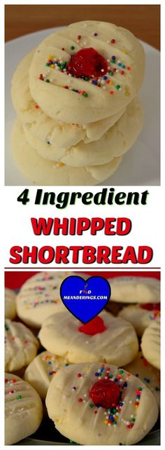 Amazing, melt-in-your-mouth, quick and easy whipped shortbread. All you need is 4 ingredients, some sprinkles and a few minutes #shortbread #holidaybaking