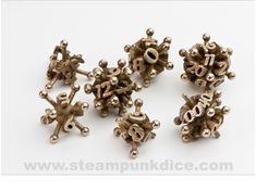 As we saw a few years ago with Chuck Stover's work, Shapeways and 3D printing have become a go-to source for unusual dice designs. Here are some eye-catching stainless steel pieces on Shapeways by Ceramic Wombat: I'm guessing you roll this one to get better Wi-Fi: Steampunk Dice also has