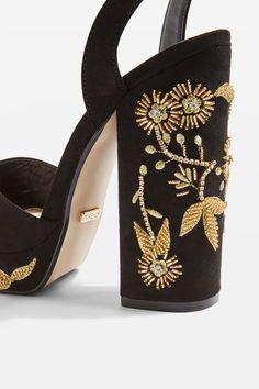 d888d959d758 Black platform sandals with embellished detail on the heel. Girls Shoes