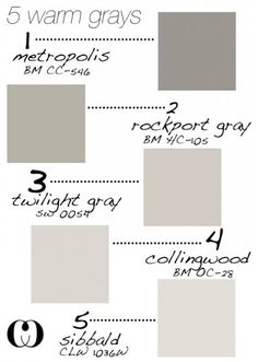 5 warm grays from Benjamin Moore .. love grey for the bedroom