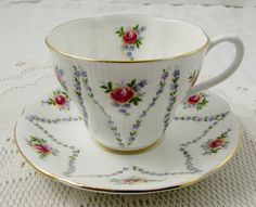 "Royal Albert Tea Cup and Saucer with Flowers, ""Minuet"", Vintage Bone China"