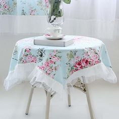 Victorian Rose Square Tablecloth.Shabby Chic. Shabby chic decor. Ruffle tablecloth.Wedding tablecloth