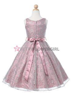 Dusty Rose Lovely Lace V-Neck Flower Girl Dress