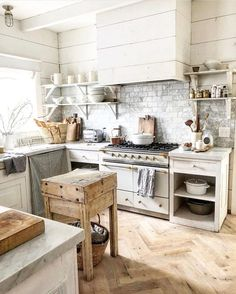 Farmhouse Kitchen 404198135304213877 - 100 Stunning Farmhouse Kitchen Decor Ideas You Have to Try – You have to see this decor idea with grey brick-tile walls and open white shelves. Source by beamars Cottage Kitchens, Modern Farmhouse Kitchens, Farmhouse Kitchen Decor, Home Kitchens, Farmhouse Interior, Farmhouse Style, Farmhouse Design, Vintage Farmhouse, Country Kitchen Designs