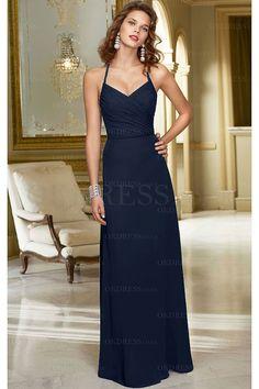 Modest Chiffon A-line Zipper Halter Dropped Bridesmaid Dresses - by OKDress UK