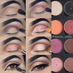 """WEBSTA @ glamorous_reflections - A #stepbystep pictorial of my Rose Gold look featuring @hudabeauty #hudabeauty3dhighlight """"Pink Sand edition""""✨. ✨BROWS✨Filled and shaped my brows with @anastasiabeverlyhills @norvina #browdefiner in Ebony._✨SHADOWS✨@hudabeauty Santorini from the pink sands edition highlight palette to highlight the brow bone, inner corner and cheekbones.@lotusluxe Eyeshadows.@makeupgeekcosmetics asteroid sparkler in the centre of the lid._✨MASCARA✨@maybelline Big Shot…"""