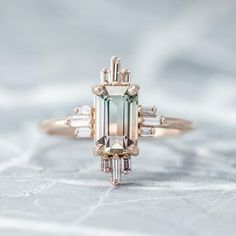 Carat Tourmaline Sunburst Halo Engagement Ring, Rose Gold – Point No Point Studio Art deco engagement ring Carat Tourmaline Sunburst Halo Engagement Ring, Rose Gold Wedding Rings Vintage, Diamond Wedding Rings, Bridal Rings, Diamond Rings, Solitaire Diamond, Gold Rings, Solitaire Rings, Diamond Jewellery, Halo Engagement Rings