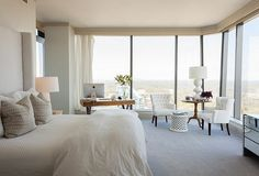 Chic luxury bedroom with a gorgeous view
