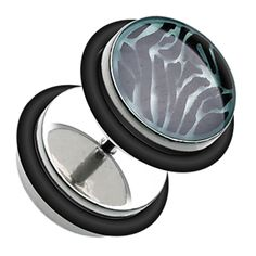 Glow in the Dark Zebra 316L Surgical Steel Fake Plug with O-Rings