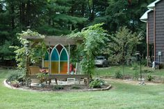 Looking for gardening project inspiration? Check out Pergola with Chapel Windows by member Betsy0. - via @Craftsy