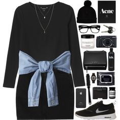 A fashion look from November 2014 featuring Monki sweaters, Monki skirts and NIKE sneakers. Browse and shop related looks.