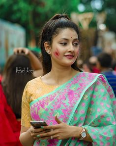 In a green & pink color saree and yellow color high neck elbow length sleeve blouse design Beautiful Bollywood Actress, Most Beautiful Indian Actress, Beautiful Asian Girls, Wedding Couple Poses Photography, Girl Photography Poses, Beauty Full Girl, Beauty Women, Holi Girls, Saree Hairstyles
