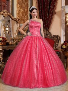 Coral Red Beaded One Shoulder Long Sweet Sixteen Dress in Des Plaines