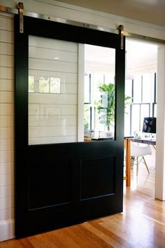 This modern interior barn doors is the most inspiring and top-notch idea Hanging Barn Doors, Glass Barn Doors, Wood Doors, Sliding Door Design, Sliding Patio Doors, Entry Doors, Front Entry, Interior Barn Doors, Exterior Doors
