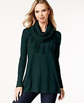 Style & Co. Long-Sleeve Top with Infinity Scarf, Only at Macy's