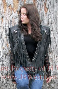 J4West Black Leather Star Shawl: Western Wear | Women Western Clothing | Western Apparel Clothing