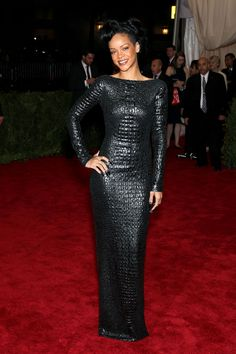 Rihanna in a sexy croc textured black dress by Tom Ford, at 2012 Met Gala
