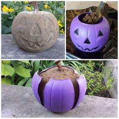SO COOL!! Make a jack-o-lantern out of concrete and a dollar store plastic pumpkin!