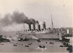RMS Mauretania on a builder's trial going past the mouth of the Tyne. Cunard Line. The Mauretania was the sister ship to the RMS Lusitania. Rms Mauretania, Carnival Corporation, Yacht Boat, Ways To Travel, Newcastle, Sailing, Ocean, Low Lights, Ball Dresses