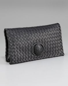 Veneta Zip Clutch, Black by Bottega Veneta at Neiman Marcus.