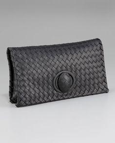Veneta Zip Clutch, Black by Bottega Veneta at Neiman Marcus.