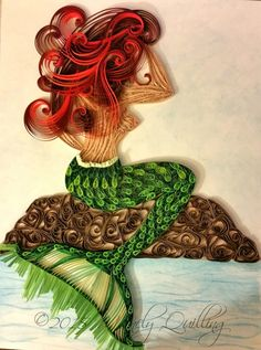 Quilled Mermaid by Mainely Quilling. Original mixed media artwork. 9x12. Watercolors and quilling.