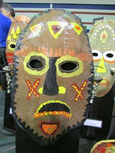 3rd grade paper mache African Tribal mask; lesson by art teacher: Susan Joe