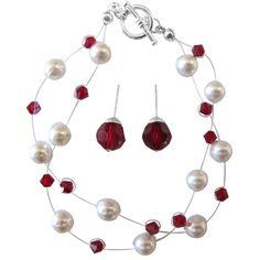 Bridesmaid Bracelet White Pearls & Siam Red Crystals Stud Earrings