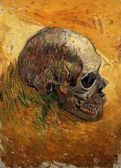Van Gogh.  Skull - Paris: Winter, 1887/88 - Oil on canvas on triplex board 43.0 x 31.0 cm. Amsterdam: Van Gogh Museum