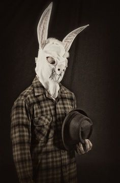 hahahah totally reminds me of a fancy dress costume I recently made...came out looking like a serial killer more than a rabbit. just like this guy.