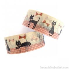 Washi Tape Cat vs Bow Ties - TWO CATS IN A BASKET