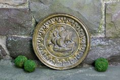 Round Brass Nautical Wall Hanging. Vintage. by NorthMajestyTrail
