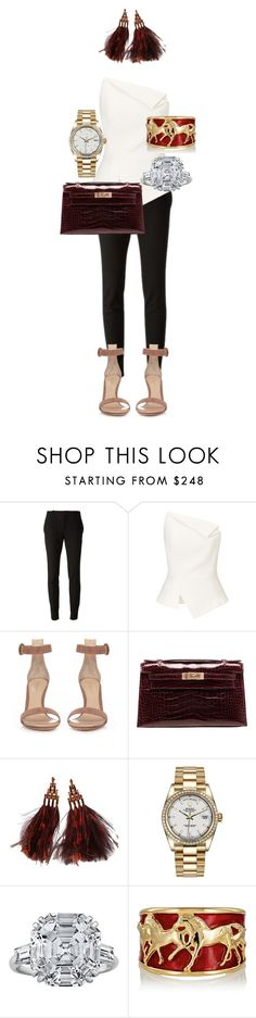 """""""Untitled #145"""" by marshaagitta ❤ liked on Polyvore featuring Gucci, Roland Mouret, Gianvito Rossi, Hermès, Louis Vuitton and Rolex"""