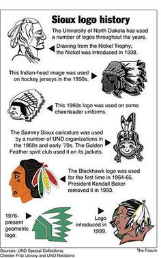 """Sioux logo history. I studied at the University of North Dakota. And even though they're changing the name...I will always be a """"Fighting Sioux""""....Yeah Sioux Sioux!!"""
