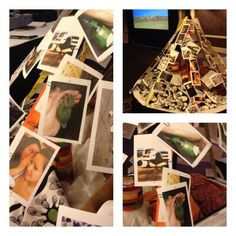 wrote prayers on photo cards and clipped them to a ribbon teepee.