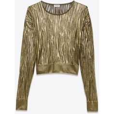 Saint Laurent Gold Open Stitch Crewneck Cropped Sweater ($1,255) ❤ liked on Polyvore featuring tops, sweaters, gold top, cropped sweater, gold sweater, brown crew neck sweater and open stitch sweater
