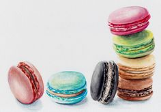 7 Colorful French Macaron Cookies Original Watercolor painting by Redstreake. $250.00, via Etsy.