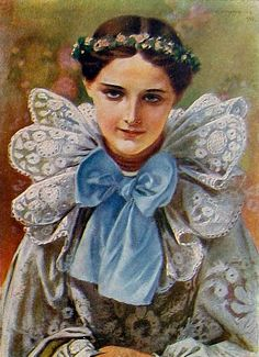 Piotr Stachiewicz (Polish, 1858-1938) Panna młoda - Żywczanka / Young Bride in Żywiec folk dress Musa, Vintage Artwork, Vintage Roses, Folklore, Vintage Ladies, Colours, Costumes, Artist, Fictional Characters